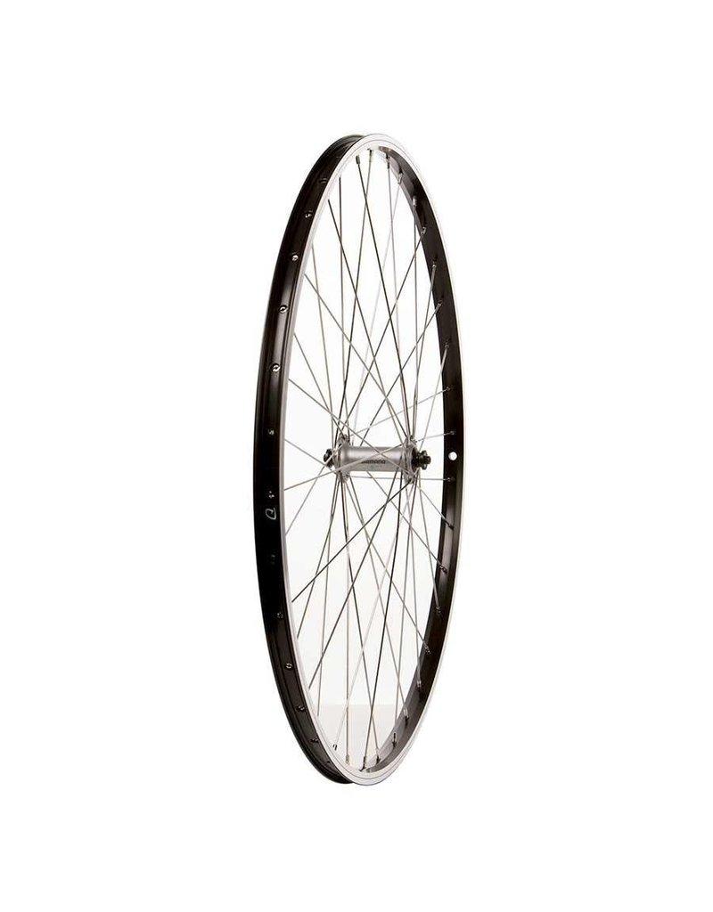 Wheel Shop, Front 700C Wheel, Alex DM-18 Black / HB-RM70 Silver, 36 Stainless Spokes, QR Axle