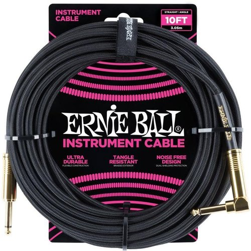 Ernie Ball Ernie Ball - Instrument Cable - 10ft -  ST/RA - Braided Black