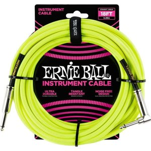 Ernie Ball Ernie Ball - Instrument Cable - 18ft -  ST/RA - Braided Yellow