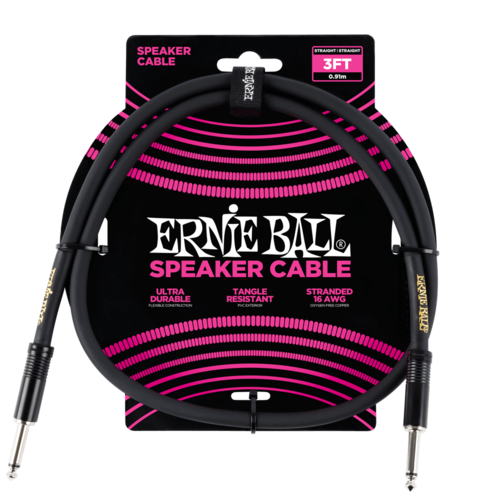 Ernie Ball Ernie Ball - Speaker Cable - 3ft -  Straight/Straight - Black