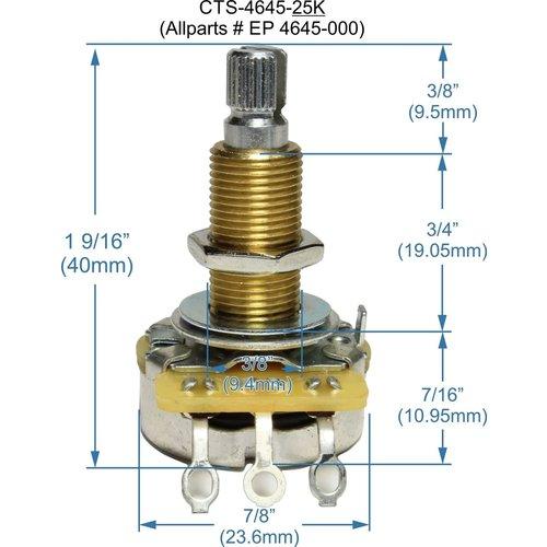 Allparts Allparts - 25K - Long Thread - Split Shaft - Pot