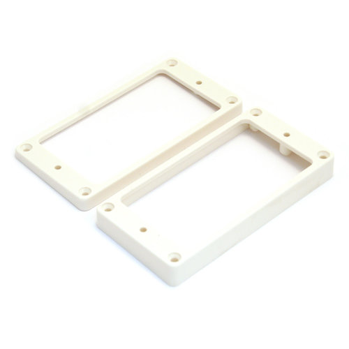 Allparts Allparts - Humbucking Pickup Rings - Flat - Slanted - Short Neck + Tall Bridge - White