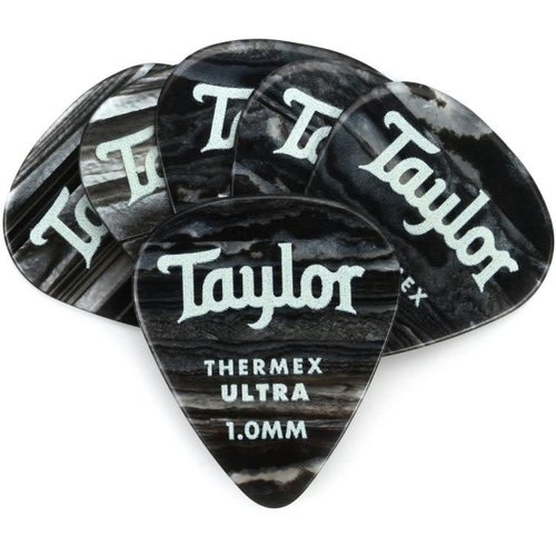 Taylor Guitars Taylor  - Premium Darktone 351 - Thermex Ultra Guitar Pick - 1.00mm - 6 PACK - Black Onyx