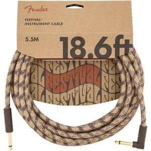 Fender Fender - Festival Hemp - Instrument Cable - 18.6'ft - RA/ST - Brown  Stripe
