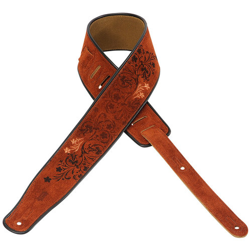 "Levy's Leathers Levy's - 2"" Suede Guitar Strap with Embroidered - MSS3EP-005"
