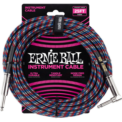 Ernie Ball Ernie Ball - Instrument Cable - 25ft -  Straight/Angle - Braided Black/Red/Blue/White