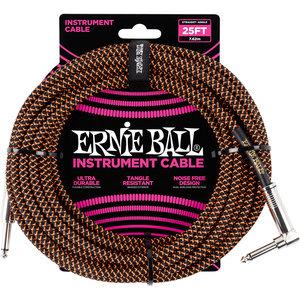 Ernie Ball Ernie Ball - Instrument Cable - 25ft -  ST/RA - Braided Black/Orange