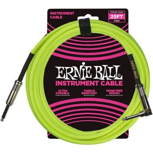 Ernie Ball Ernie Ball - Braided - Instrument Cable - ST/RA - 25ft - Neon Yellow