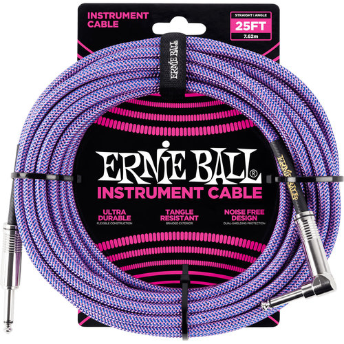 Ernie Ball Ernie Ball - Braided - Instrument Cable - ST/RA - 25ft - Purple