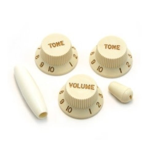 Allparts Allparts - Parchment Knob Set for Stratocaster