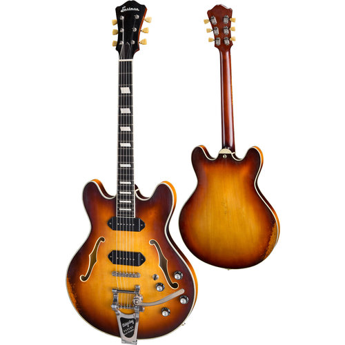 Eastman Strings Eastman - T64/v-GB - Hollowbody Electric Guitar - w/Bigsby - w/ Hardshell Case - Gold Burst Aged