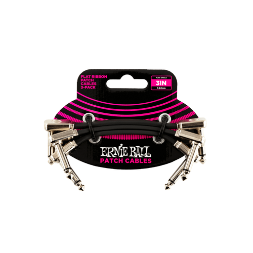 "Ernie Ball Ernie Ball - 3"" Flat Ribbon - Patch Cable - 3 Pack - Black"