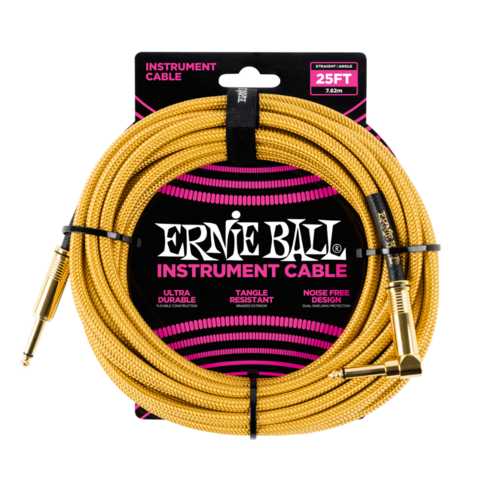 Ernie Ball Ernie Ball - Instrument Cable - 25ft -  ST/RA - Braided Gold