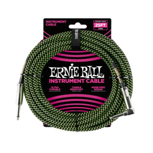 Ernie Ball Ernie Ball - Instrument Cable - 25ft -  ST/RA - Braided Black Green