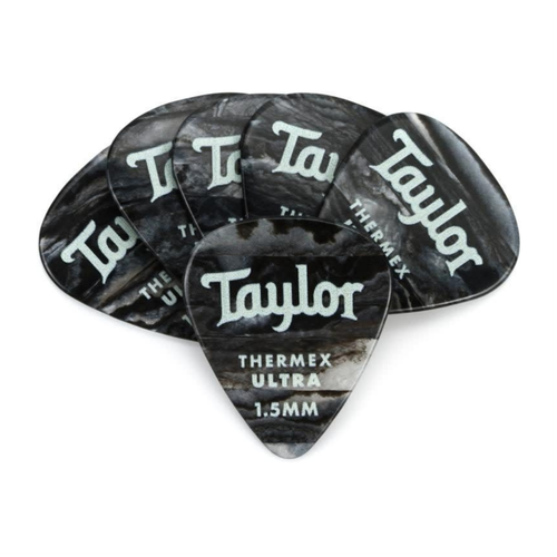 Taylor Guitars Taylor  - Premium Darktone 351 - Thermex Ultra Guitar Pick - 1.50mm - 6 PACK - Black Onyx