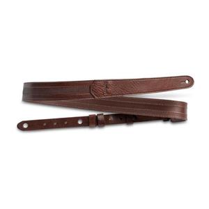 "Taylor Guitars Taylor - Slim Leather Strap - 1.50"" - Emobossed Logo - Chocolate Brown w/Stitching"