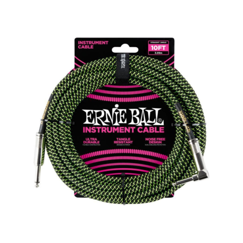 Ernie Ball Ernie Ball - Instrument Cable - 10ft -  ST/RA - Braided Black Green