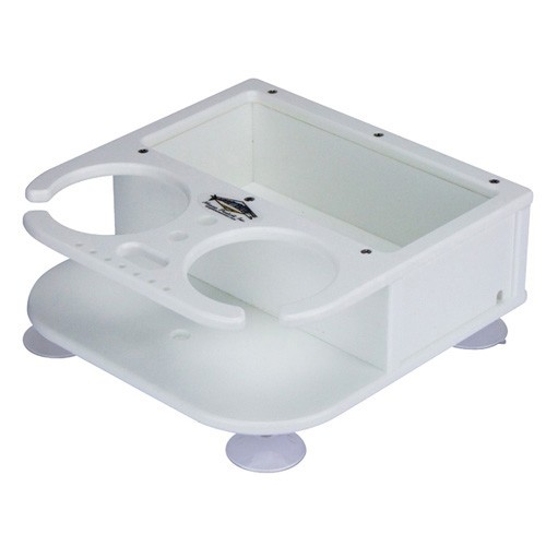 Deep Blue Drink Holder - Double with Caddy Tray & Suction Cups