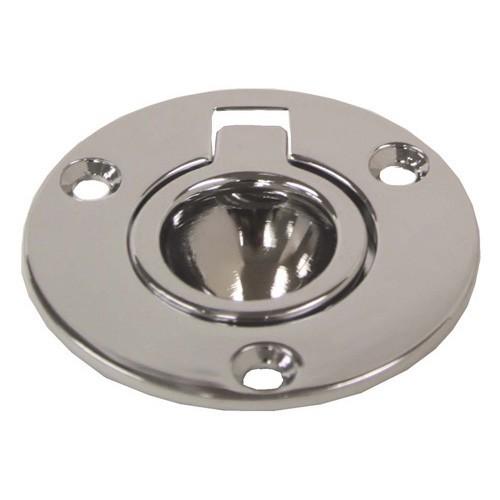 R W Basham Pull Ring - Round Flush - Chrome Brass - 52mm