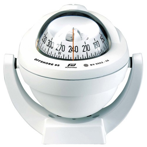 Plastimo Offshore 95 Powerboat Compass - White - Bracket Mount - With Conical White Card