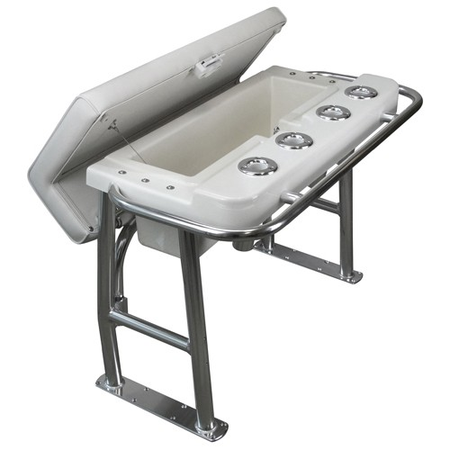 Sam Allen Deluxe Alloy Leaning Post with Storage & Rod Holders (Removable Backrest NOT INCLUDED)