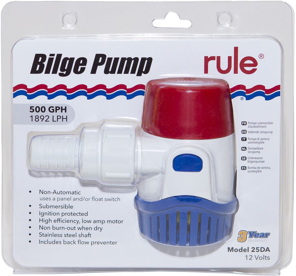 Rule 500GPH Submersible Bilge Pump - Non-Automatic - 12V