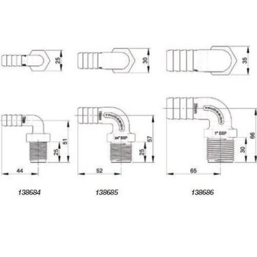 Tru Design Tail - Long Thread 90 Degree