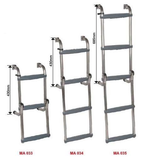 Oceansouth Long Base Ladder - Stainless Steel
