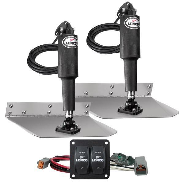 "Lenco Trim Tab Standard Mount Kit - Double Rocker Switch - Matte Finish - 9 x 9"" - 12V"