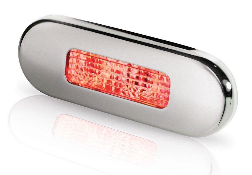 Hella LED Surface Mount Oblong Courtesy Lamp - Polished Stainless Steel Rim - 12/24V DC - Red Light