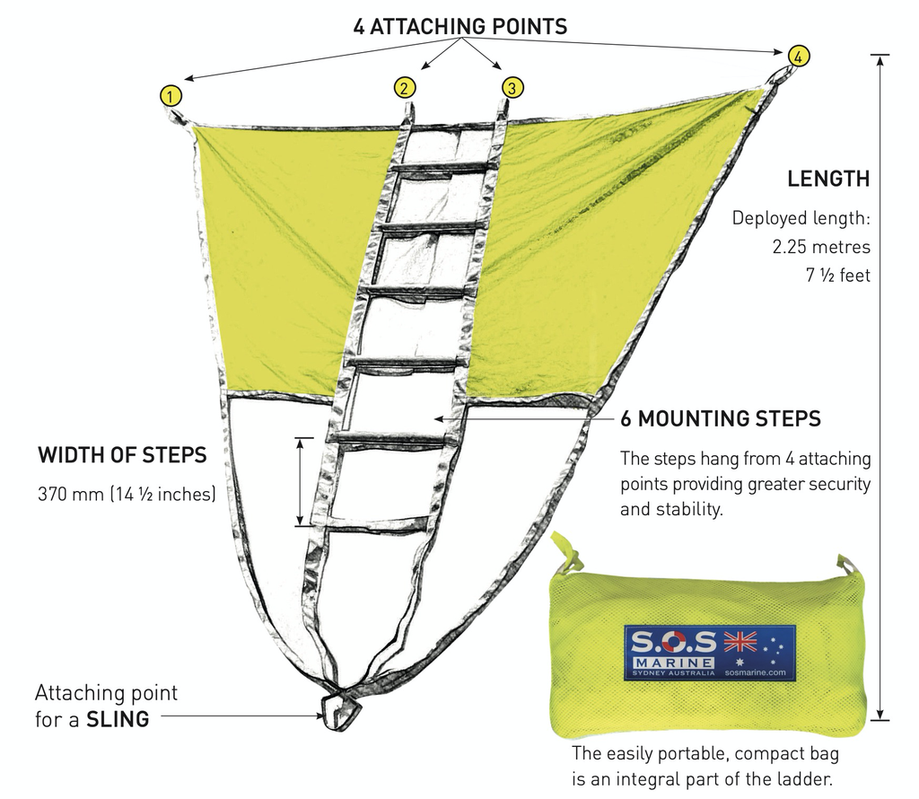 SOS Marine Two-In-One Multi-Function Recovery/Rescue Ladder