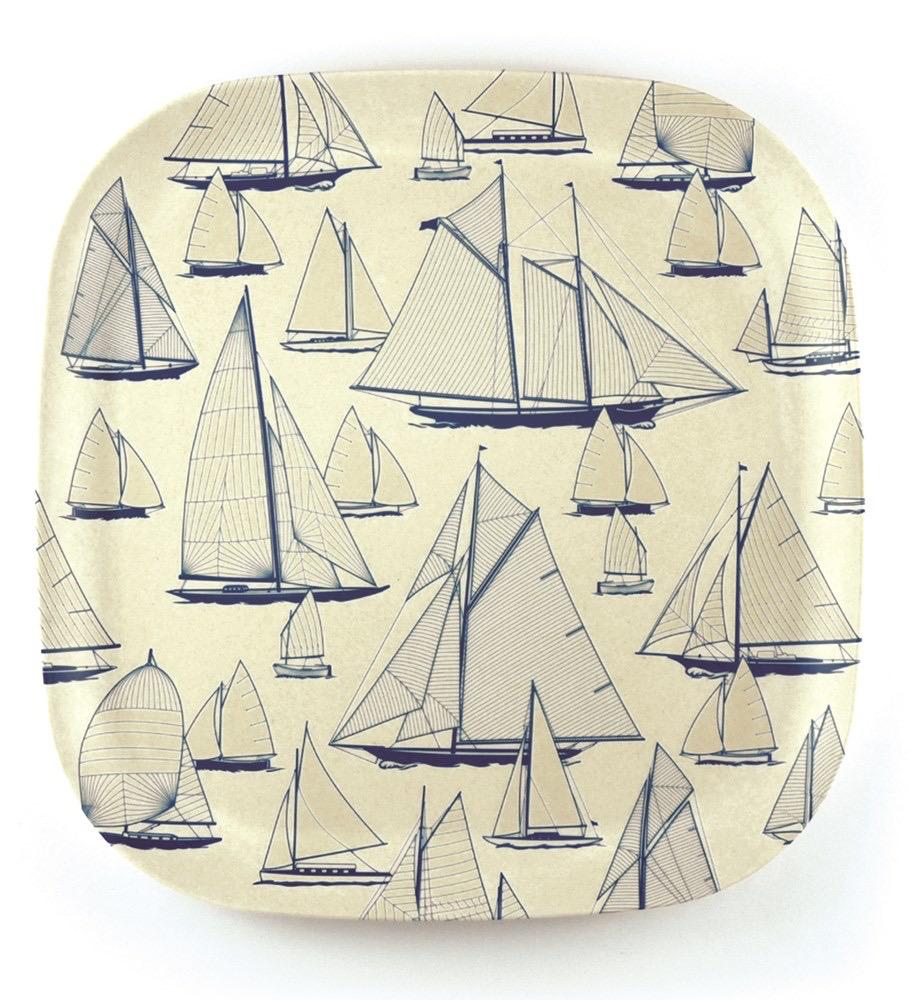 Nautigo 'Sail Away' - Bamboo Plate - 26cm