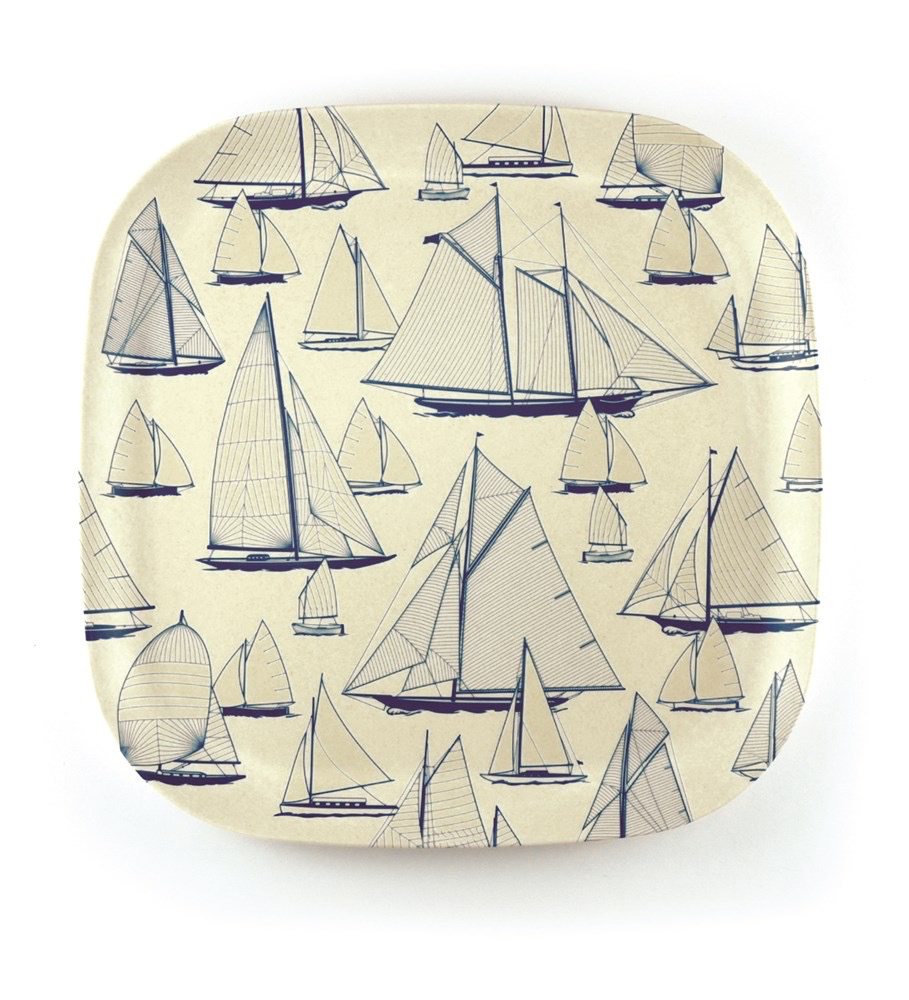 Nautigo 'Sail Away' - Bamboo Plate - 22cm