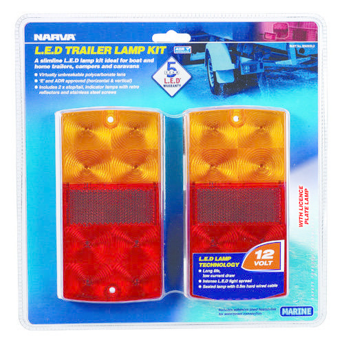 Narva 12V Model 36 L.E.D Slimline Trailer Lamp Pack w/ Licence Plate Lamp & 0.5m Hard-Wired Tinned Cable per Lamp & S/S Fittings