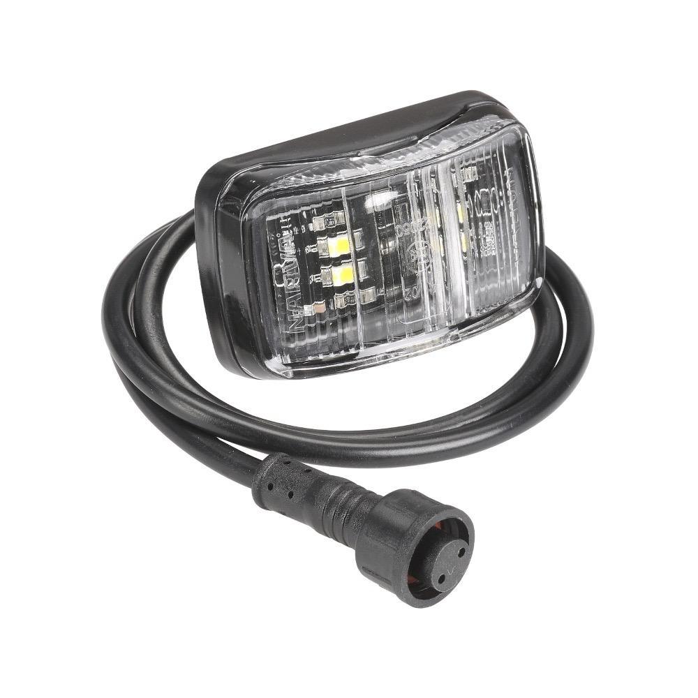Narva 12V Model 37 L.E.D Slimline Front End Outline Marker Lamp (White) w/ 0.5m Lead & Waterproof Connector