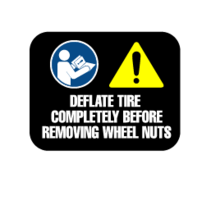 PRIDE DECAL,WARNING,DEFLATE TIRE COMPLETELY,L-1234-957