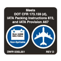 "PRIDE DECAL,ISO,""AGM/GEL CELL/DOT CERTIFIED"",L-1235-551"
