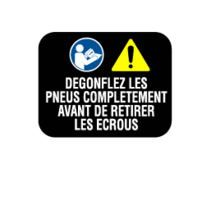 PRIDE DECAL,WARNING,DEFLATE TIRE COMPLETELY,FRENCH,L-1235-516