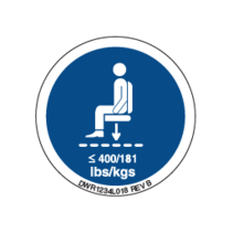 PRIDE DECAL,ICON,MAXIMUM WEIGHT CAPACITY, 400LBS/180KG,L-1234-018
