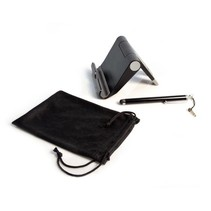 CTA Digital Travel Kit with Foldable Stand, Microfiber Pouch and Stylus for Tablets and Smartphones