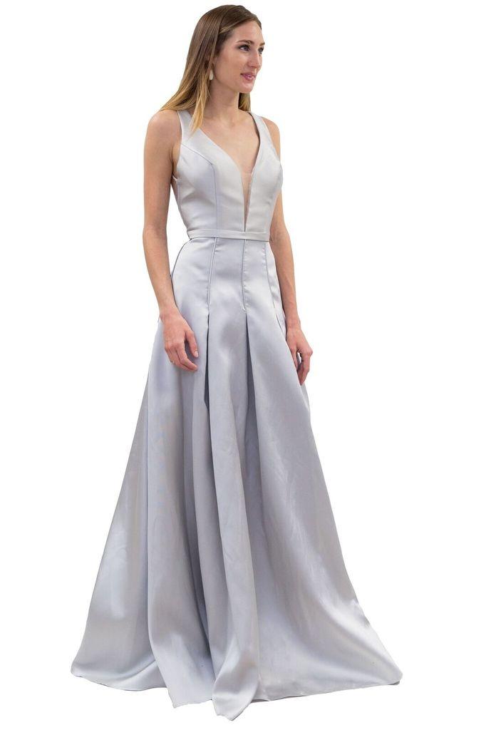 Forever Unique Liberty Long Grey Dress