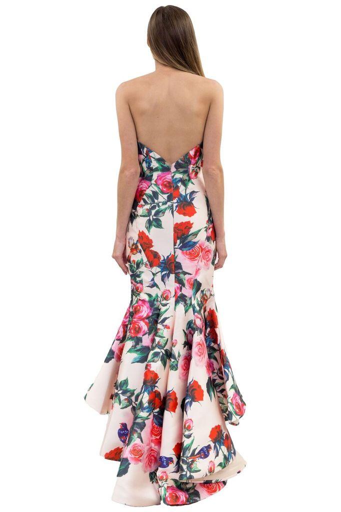 Forever Unique Peggy Strapless Rose Print Dress