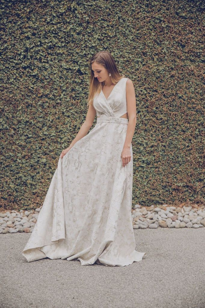 Forever Unique Mara Ivory and Gold Dress