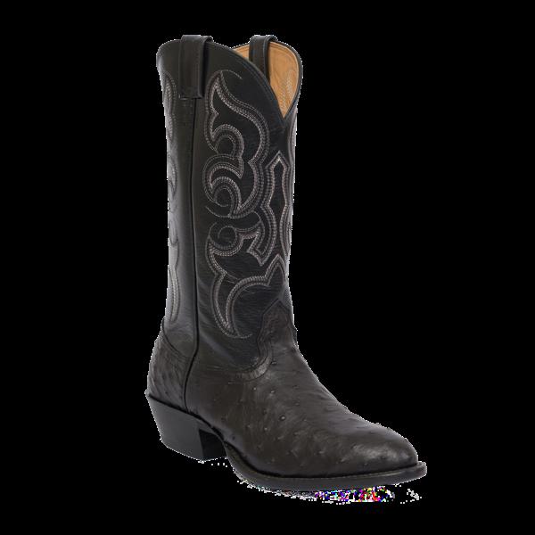 Fenoglio Boot Co. Black Full Quill Ostrich Western w/ Black Glazed Goat