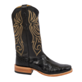 Fenoglio Boot Co. Black American Gator w/ Black Smooth Italian