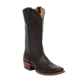Fenoglio Boot Co. Black Cherry Full Quill Ostrich w/ Black Glazed Goat