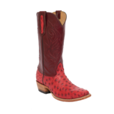 Fenoglio Boot Co. Red Full Quill Ostrich w/ Burgundy Upholstery