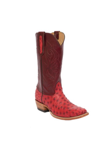 Fenoglio Boot Co. Red Full Quill w/ Burg Upholstery
