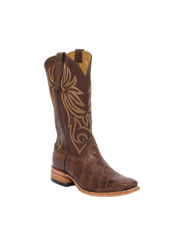 Fenoglio Boot Co. Brown American Gator w/ Brown Smooth Italian