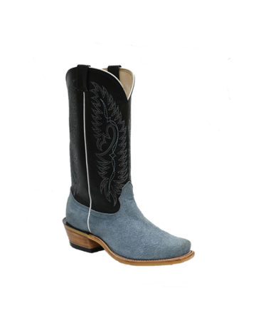 Fenoglio Boot Co. Carolina Blue Roughout w/ Black Glazed Goat